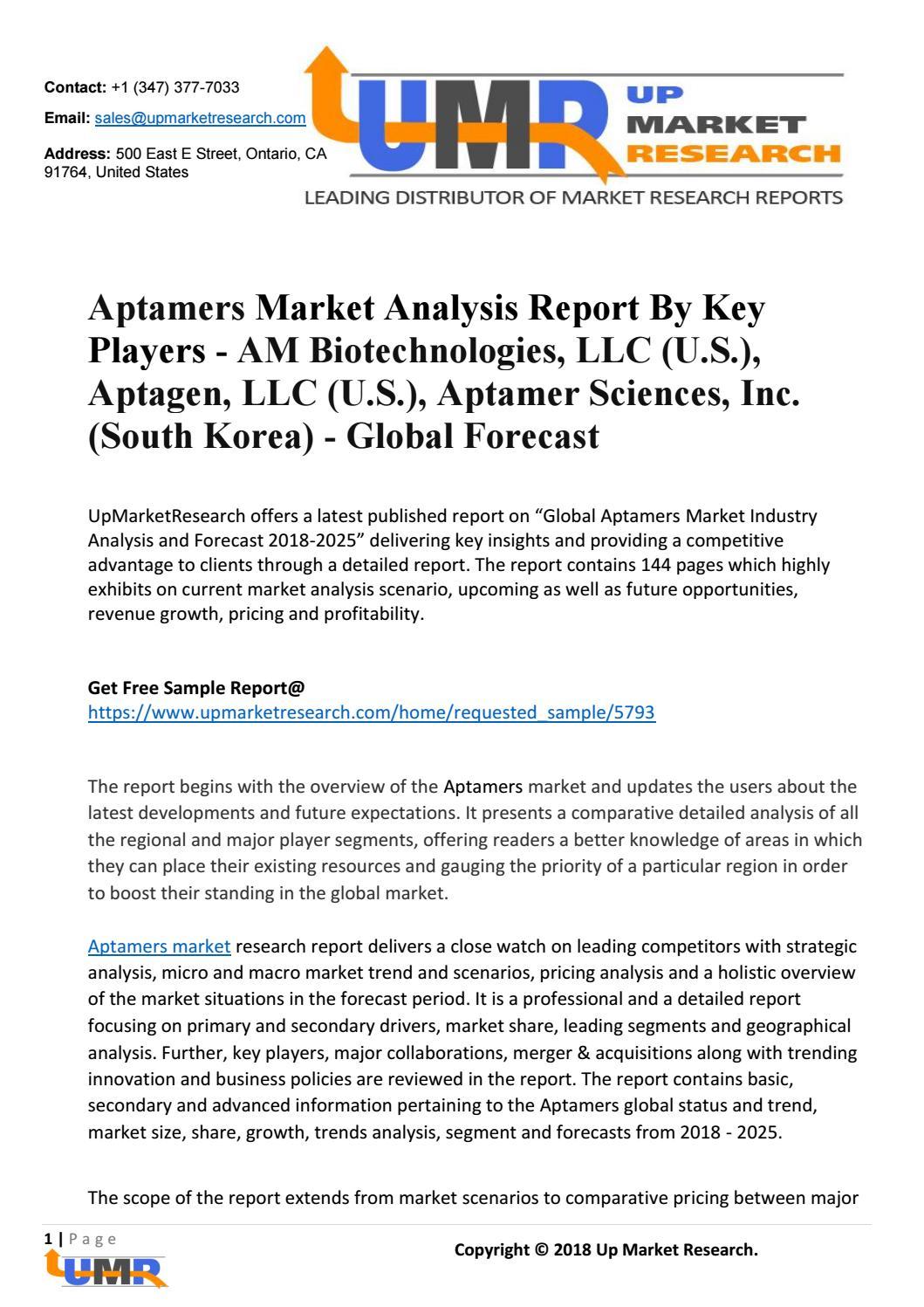 Aptamers Market Analysis Report By Key Players - AM Biotechnologies, LLC  (U S ), Aptagen, LLC (U S )