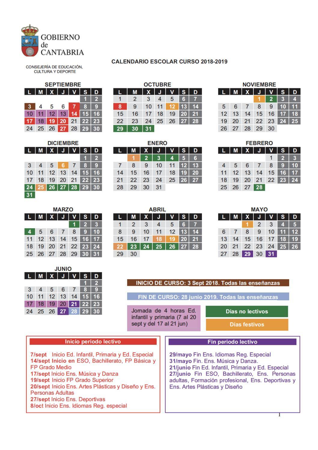 Calendario 2018 2019.Calendario Escolar 2018 2019 By Colegio Concepcion Arenal