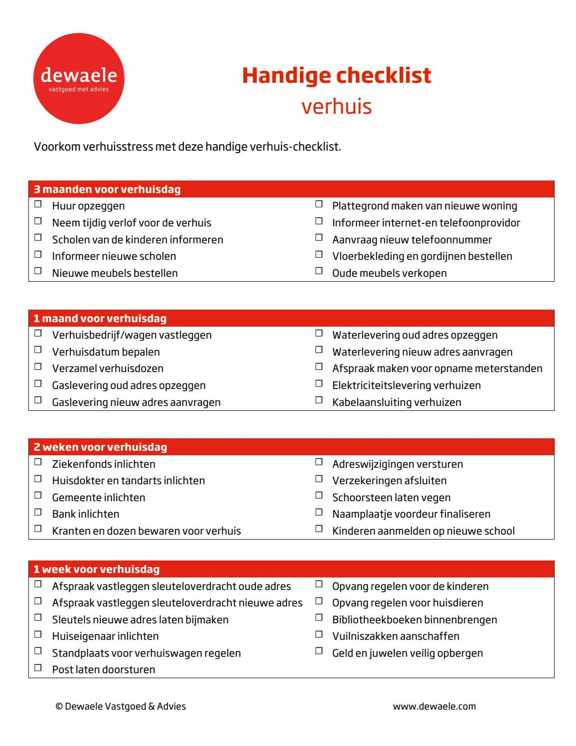 Checklist verhuis by dewaele vastgoedgroep issuu for Checklist verhuizen
