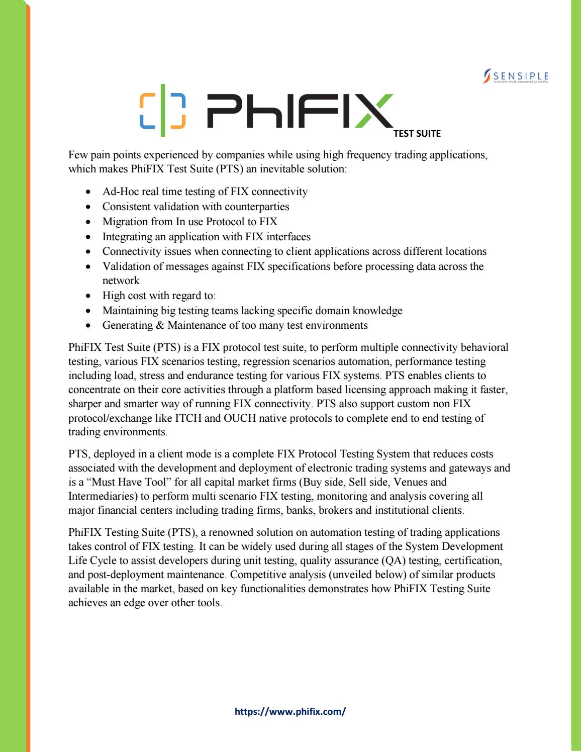 An ultimate solution for comprehensive FIX Testing -Phifix Test