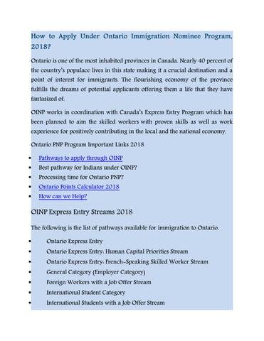 Ontario provincial nominee program 2018 by AP Immigration