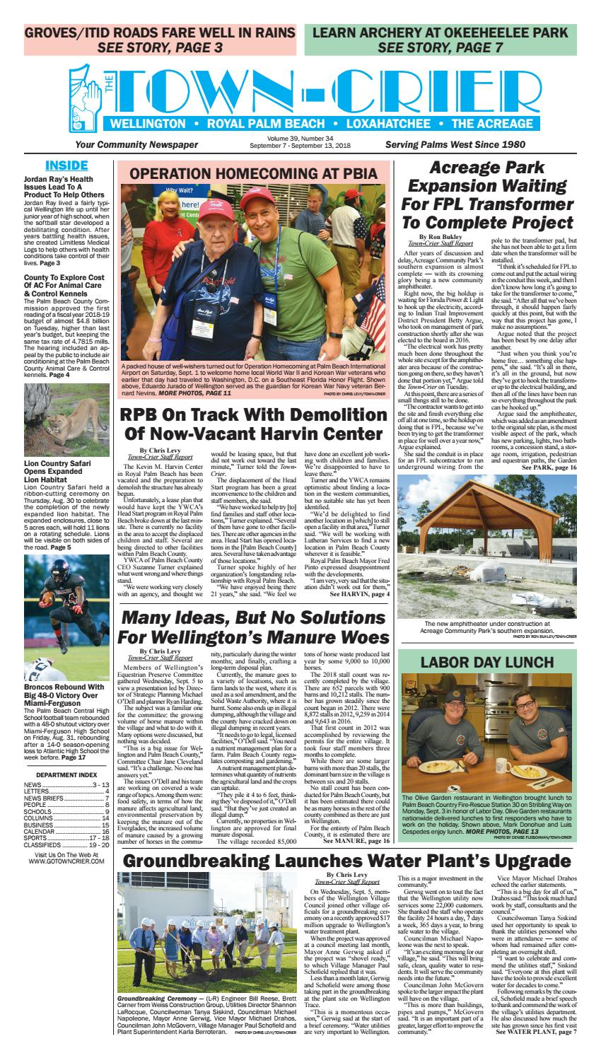 Town-Crier Newspaper September 7, 2018 by Wellington The