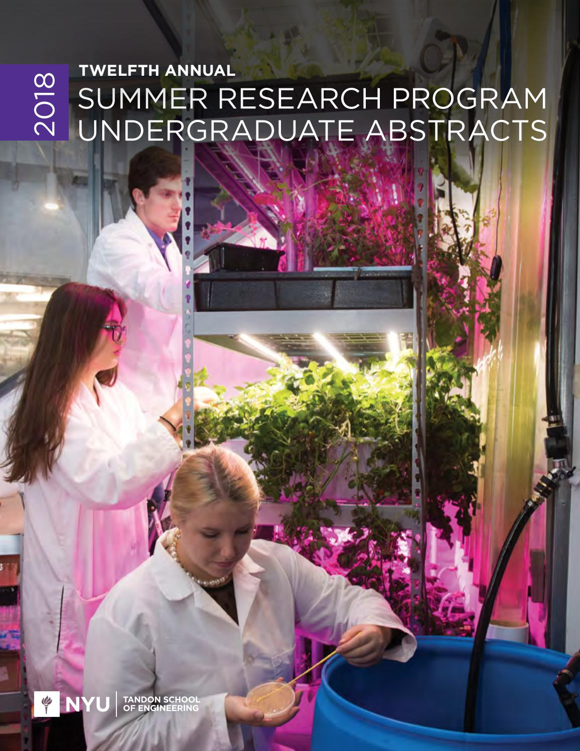 2018 Summer Research Program Undergraduate Abstracts by