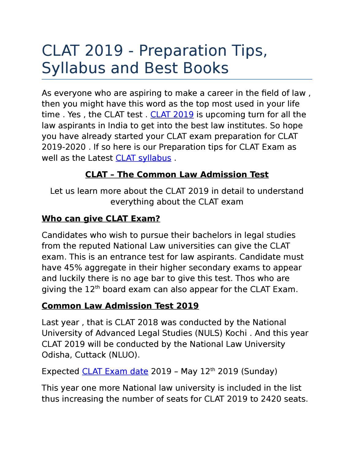 CLAT 2019 Exam Details by vineesh28 - issuu