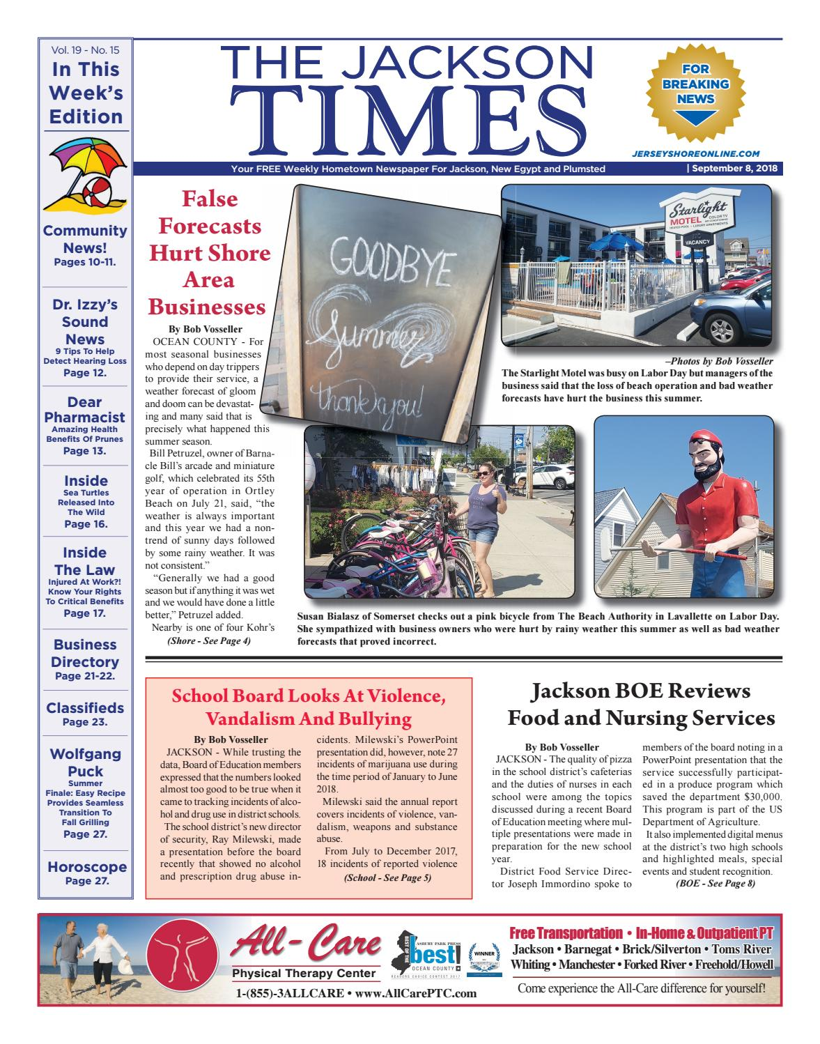 2018 09 08 The Jackson Times By Micromedia Publications Jersey Shore Online Issuu