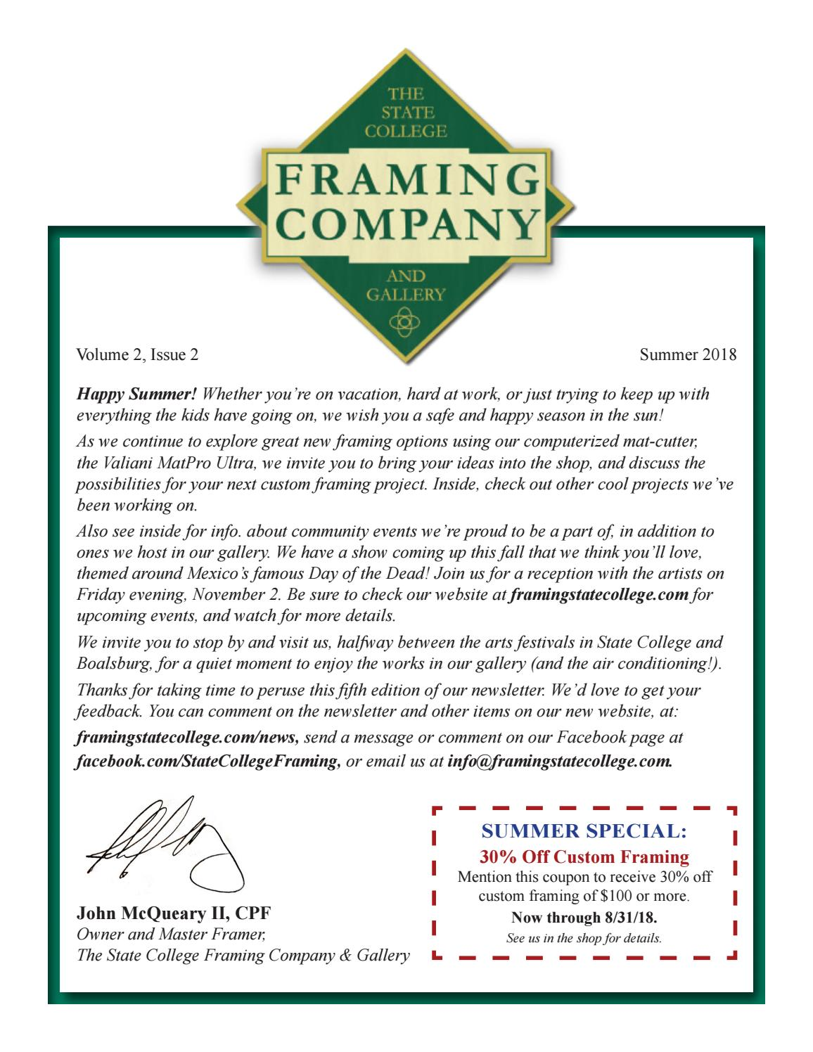 Summer Newsletter 2018 by State College Framing Company & Gallery ...