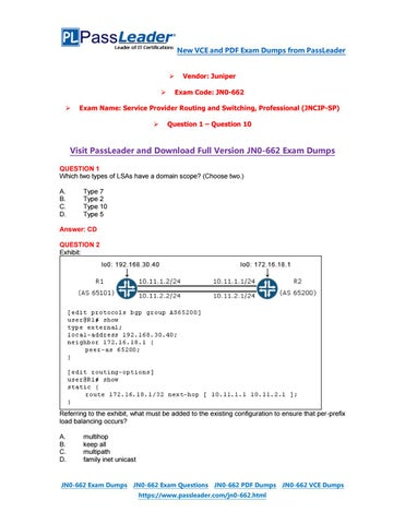 2018 New JNCIP-SP JN0-662 Dumps with PDF and VCE (Question 1