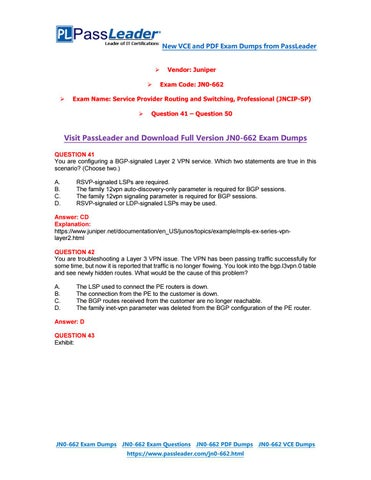 2018 New JNCIP-SP JN0-662 Dumps with PDF and VCE (Question 41