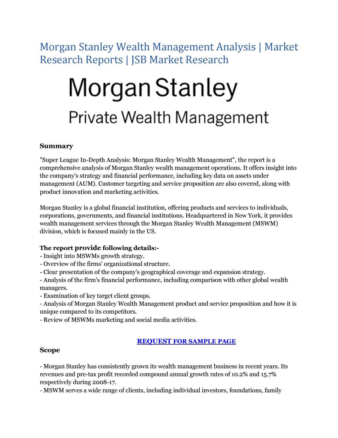 Morgan Stanley Wealth Management Analysis | Market Research