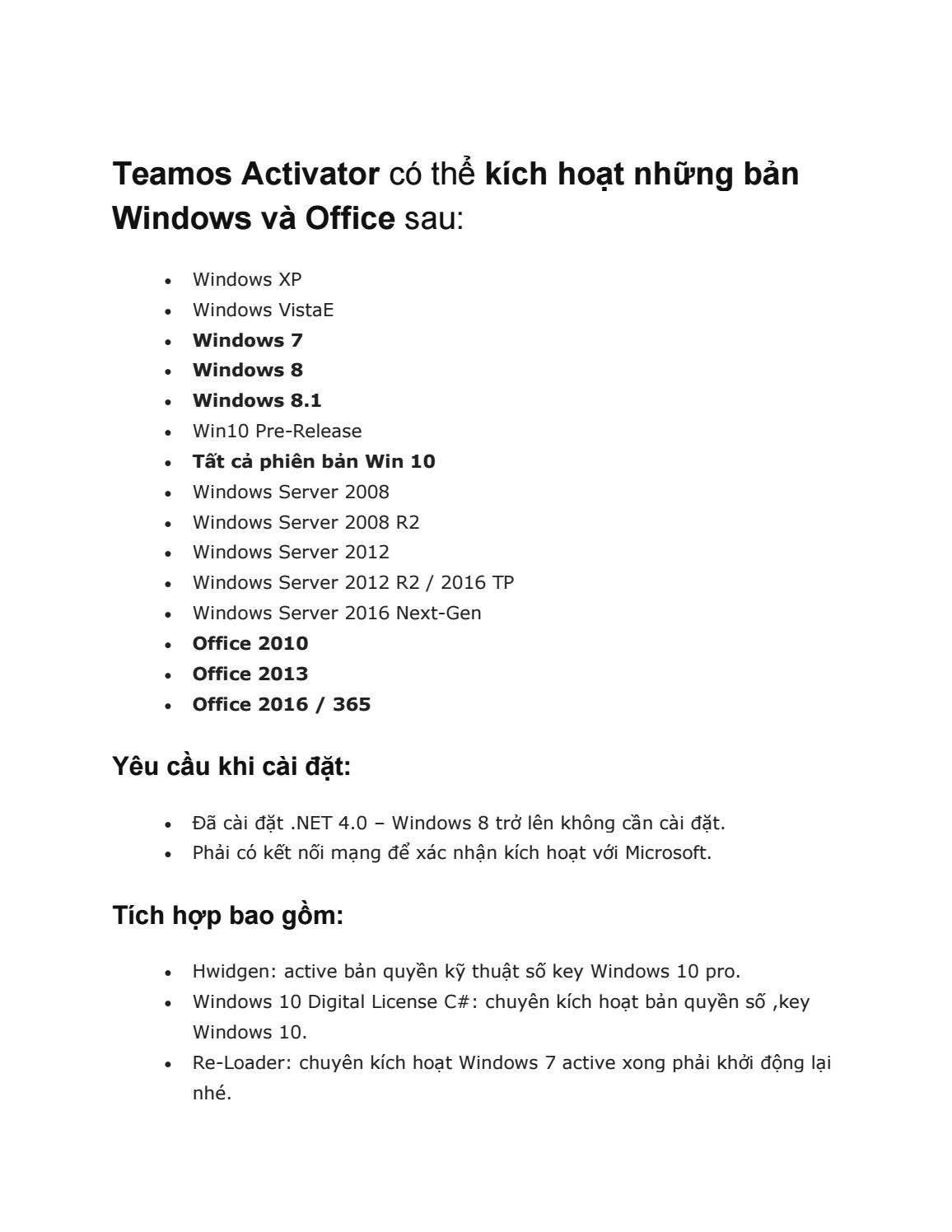 Crack All Windows And Microsoft Office - Teamos Activator by I Cong