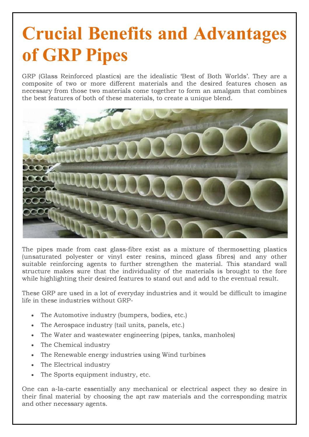 Crucial Benefits and Advantages of GRP Pipes by eppcomposites - issuu