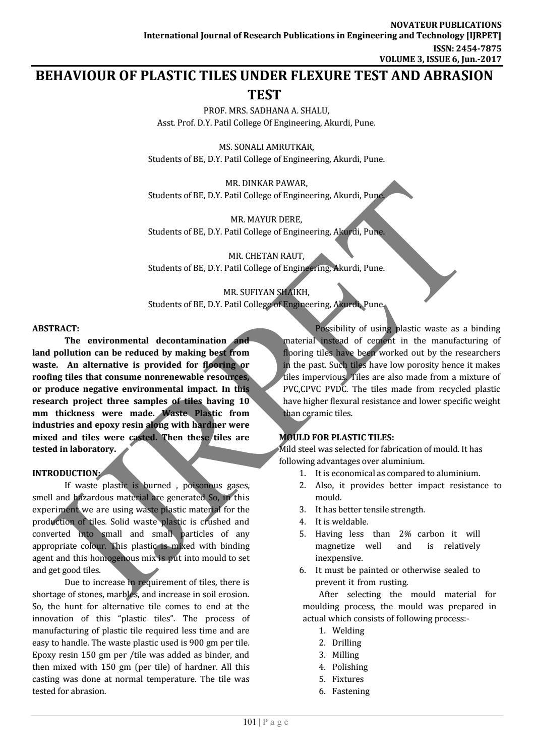 JournalNX-BEHAVIOR OF PLASTIC TILES UNDER FLEXURE TEST AND ABRASION