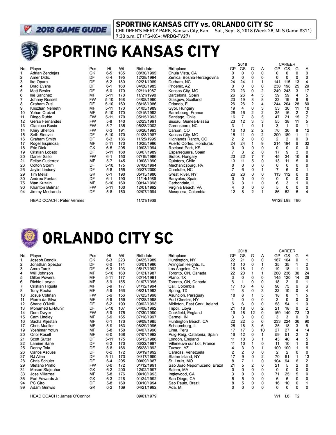 Game Notes Sporting KC vs Orlando City SC