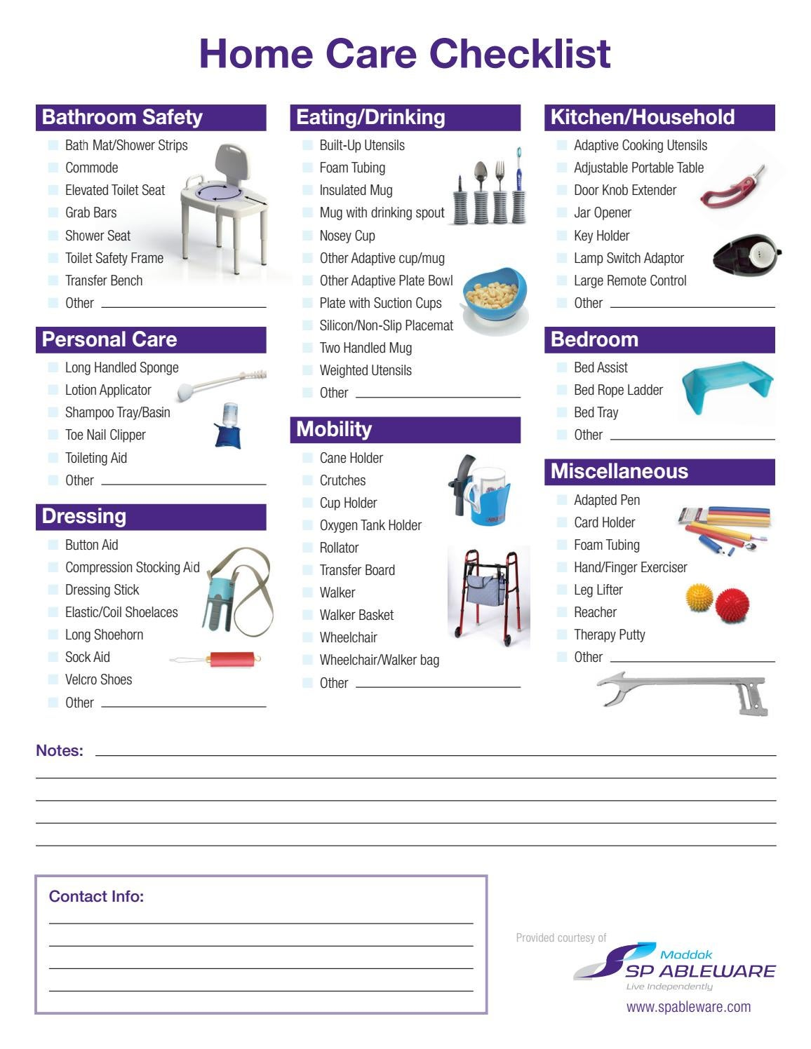 Home Care Checklist by SP Scienceware - Bel-Art - HB
