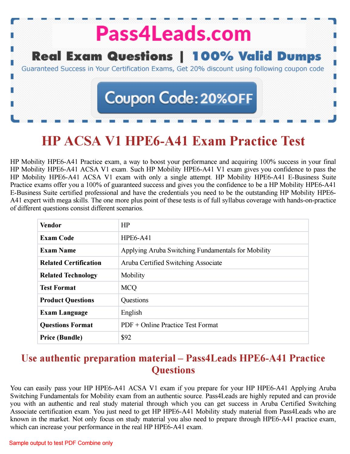HP HPE6-A41 Practice Test - 2018 Updated HPE6-A41 PDF