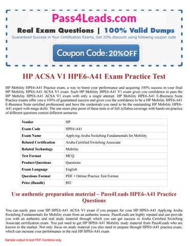 HP HPE6-A41 Practice Test - 2018 Updated HPE6-A41 PDF Questions by