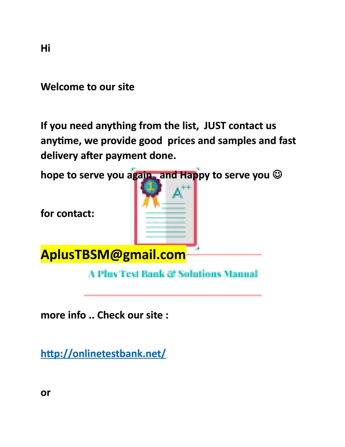 Test bank and Soluiton 2018 -2019 list 4 by A plus for Test bank and  Solution manual - issuu