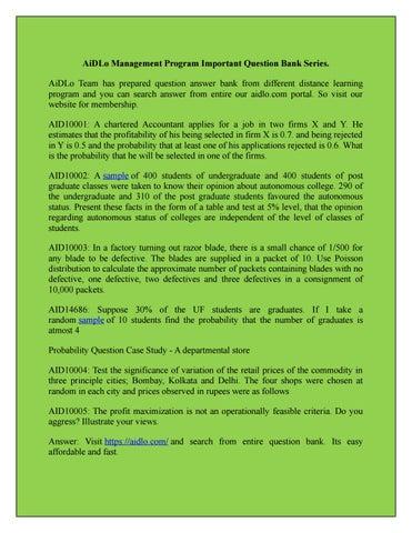 AiDLo Management Program Important Question Bank Series 1 By