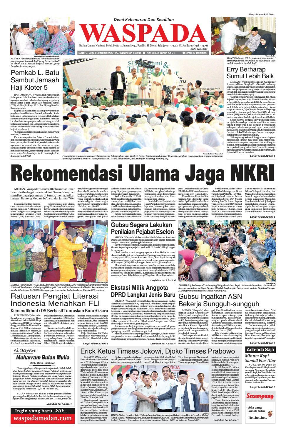 Waspada Sabtu 8 September 2018 By Harian Issuu Kopibubuk Robusta Toko Rezeki Akumandiri Malang