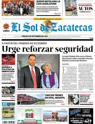 5bde1582f El Sol de Zacatecas 8 de septiembre 2018 by El Sol de Zacatecas - issuu