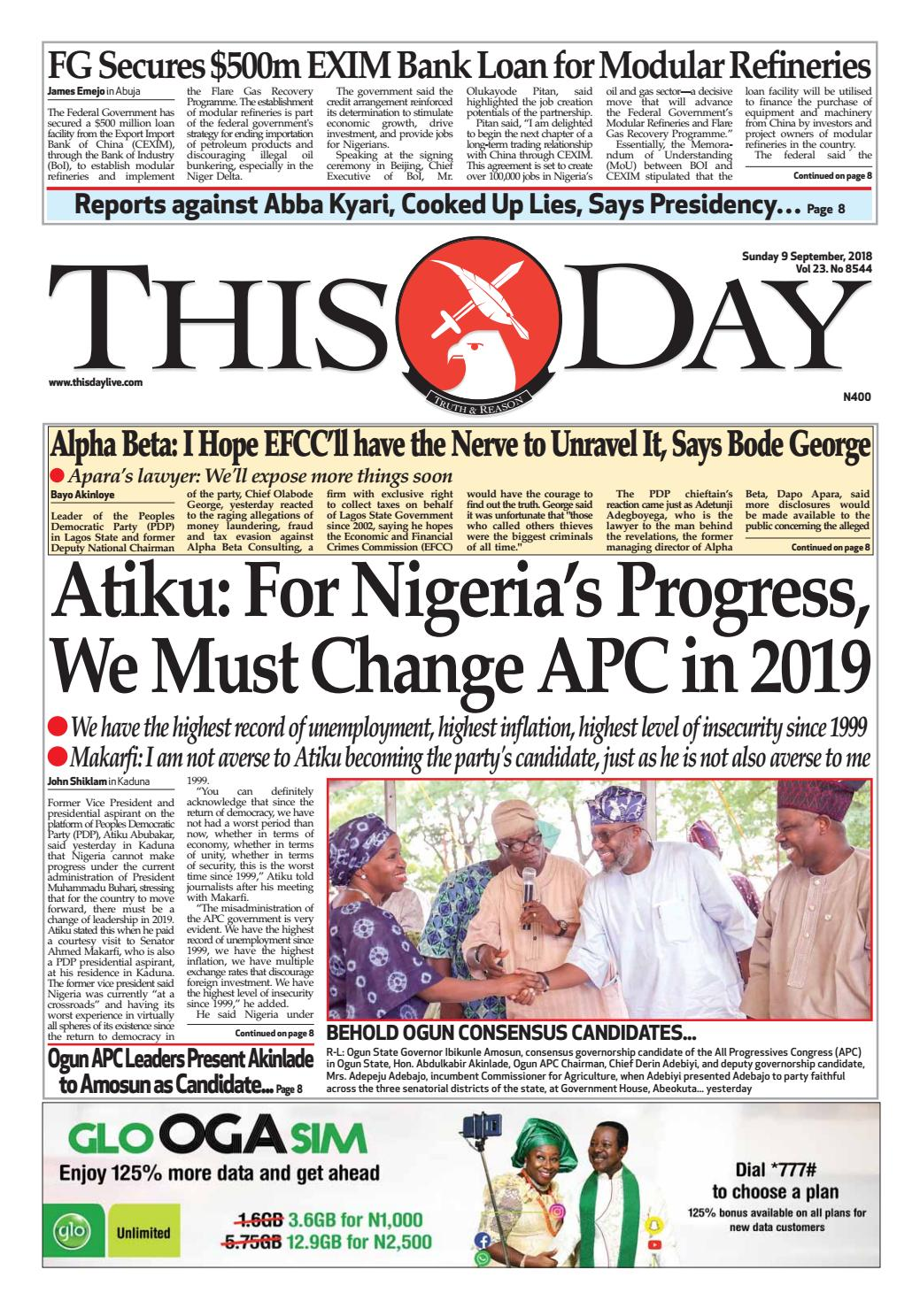 SUNDAY 9TH SEPTEMBER 2018 by THISDAY Newspapers Ltd - issuu