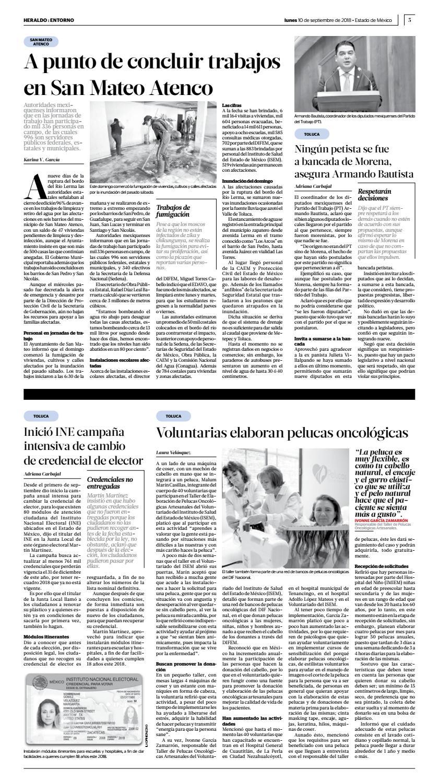 Lunes 10 De Septiembre 2018 By Heraldo Estado De México Issuu