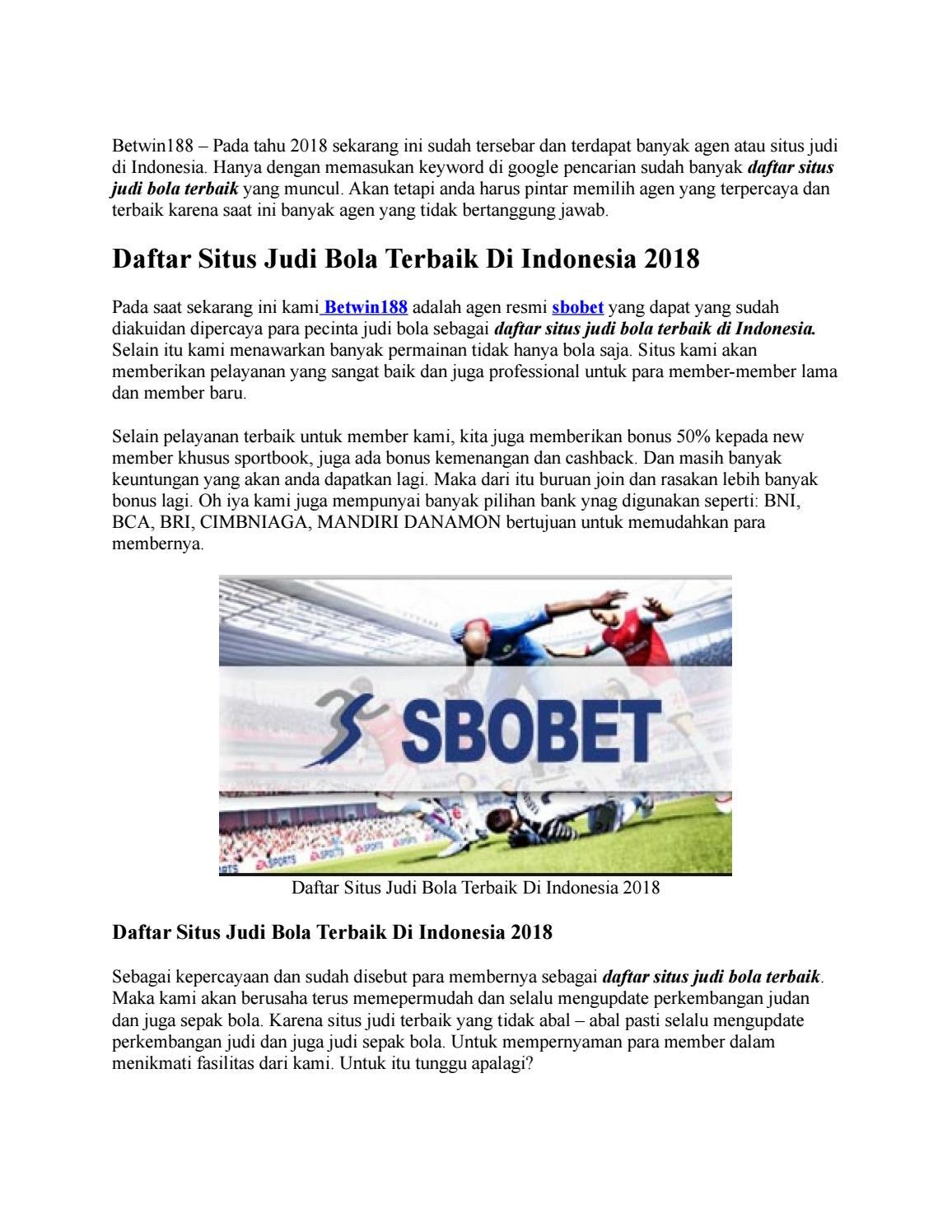 Daftar Situs Judi Bola Terbaik Di Indonesia 2018 By Clara Ratu Amori Issuu