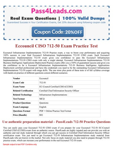 EC-Council Certified CISO Chief Information Security Officer Test 712-50 Exam QA