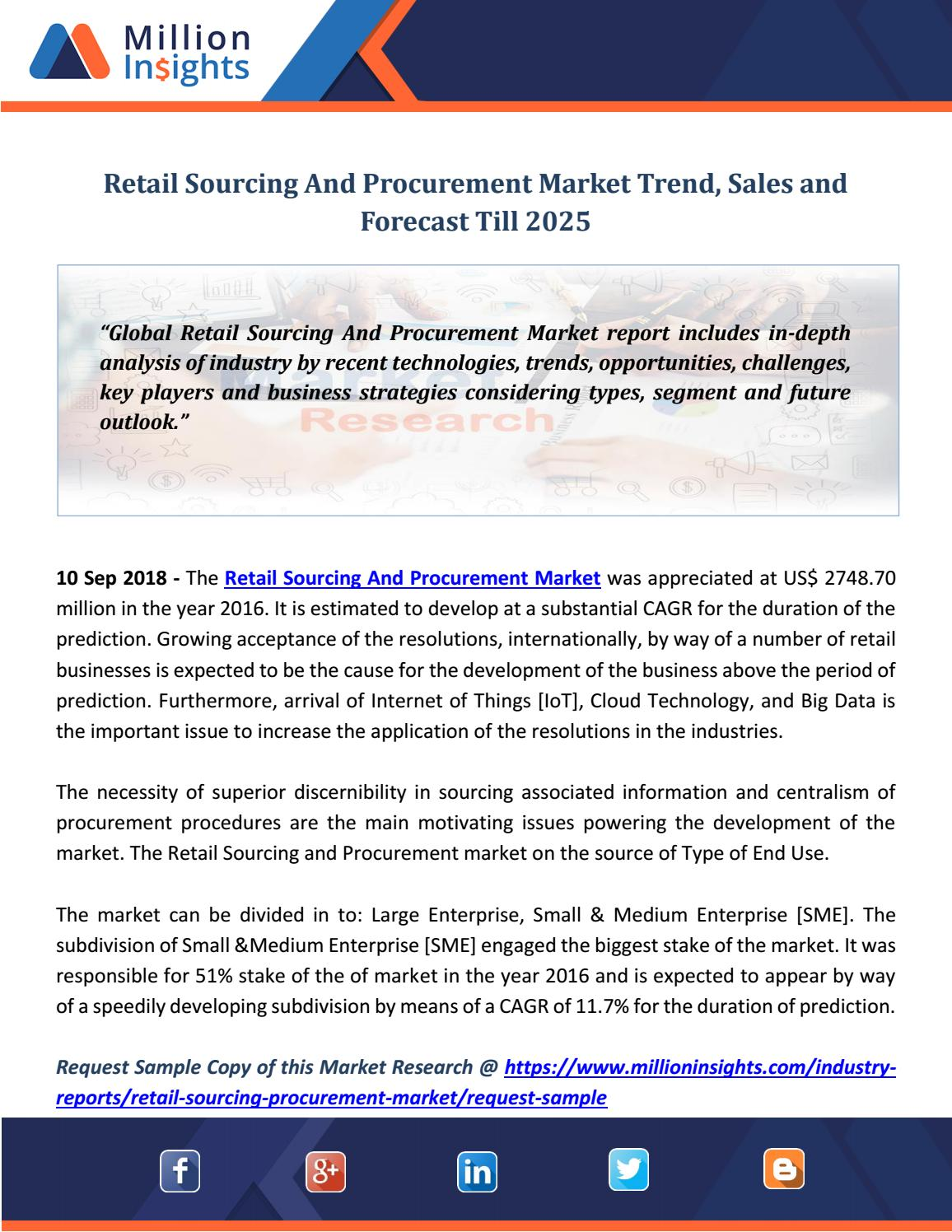 Retail Sourcing And Procurement Market Trend, Sales and