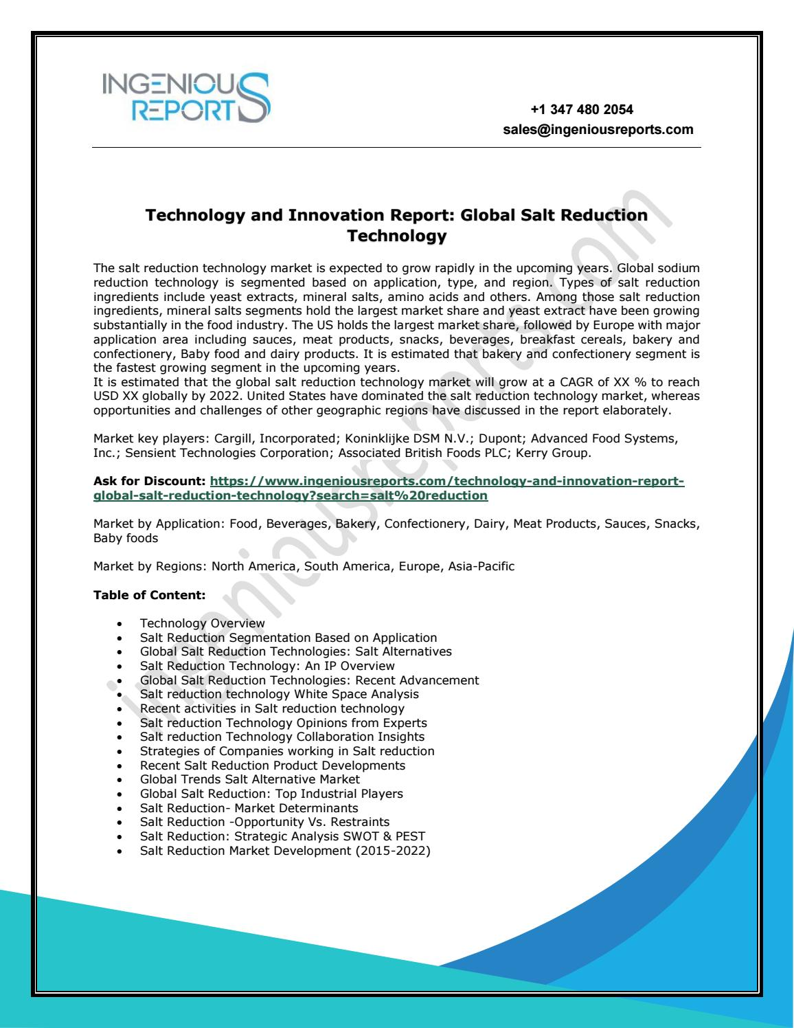 Ingenious Reports: Salt Reduction Technology Trends and Analysis by