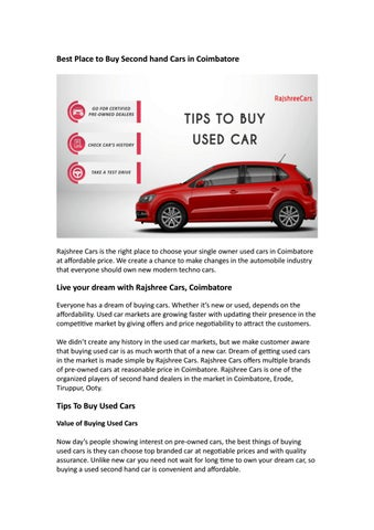 Best Place To Choose Second Hand Cars In Coimbatore Rajshree Cars
