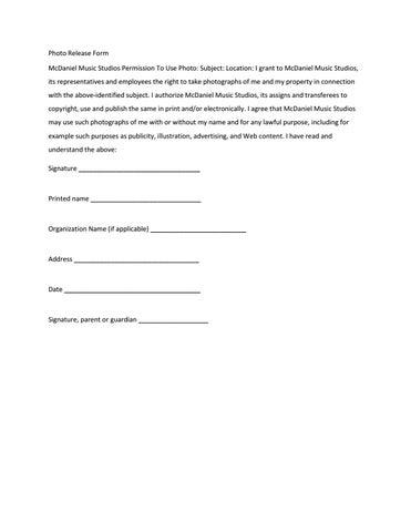 Photo release form by marakjennings - issuu