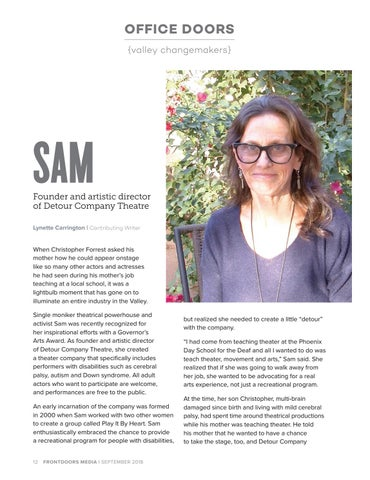 Page 12 of Office Doors: Sam, Founder and artistic director of Detour Company Theatre