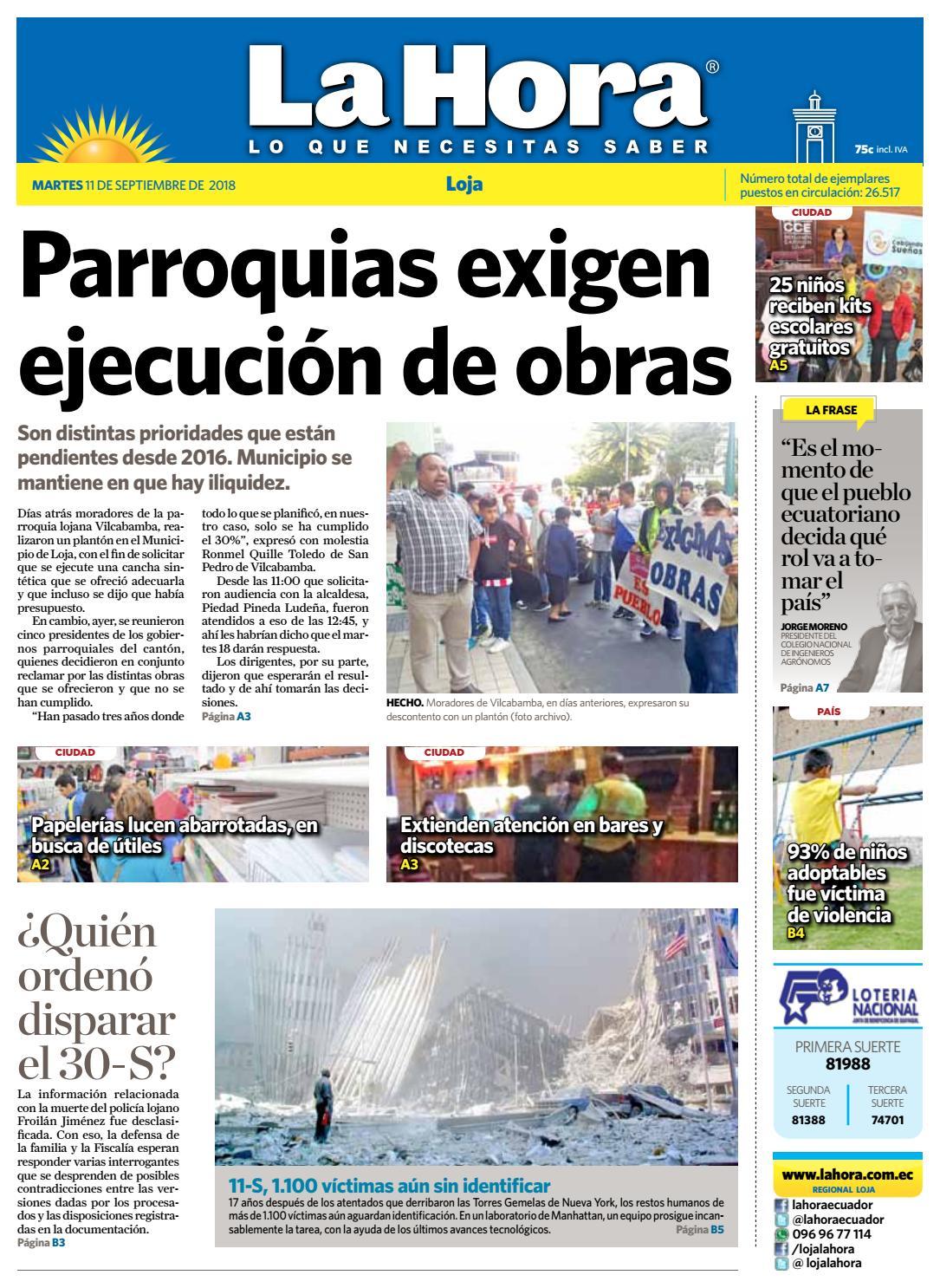 Diario La Hora Loja 11 de Septiembre 2018 by Diario La Hora Ecuador - issuu 9723a2107e