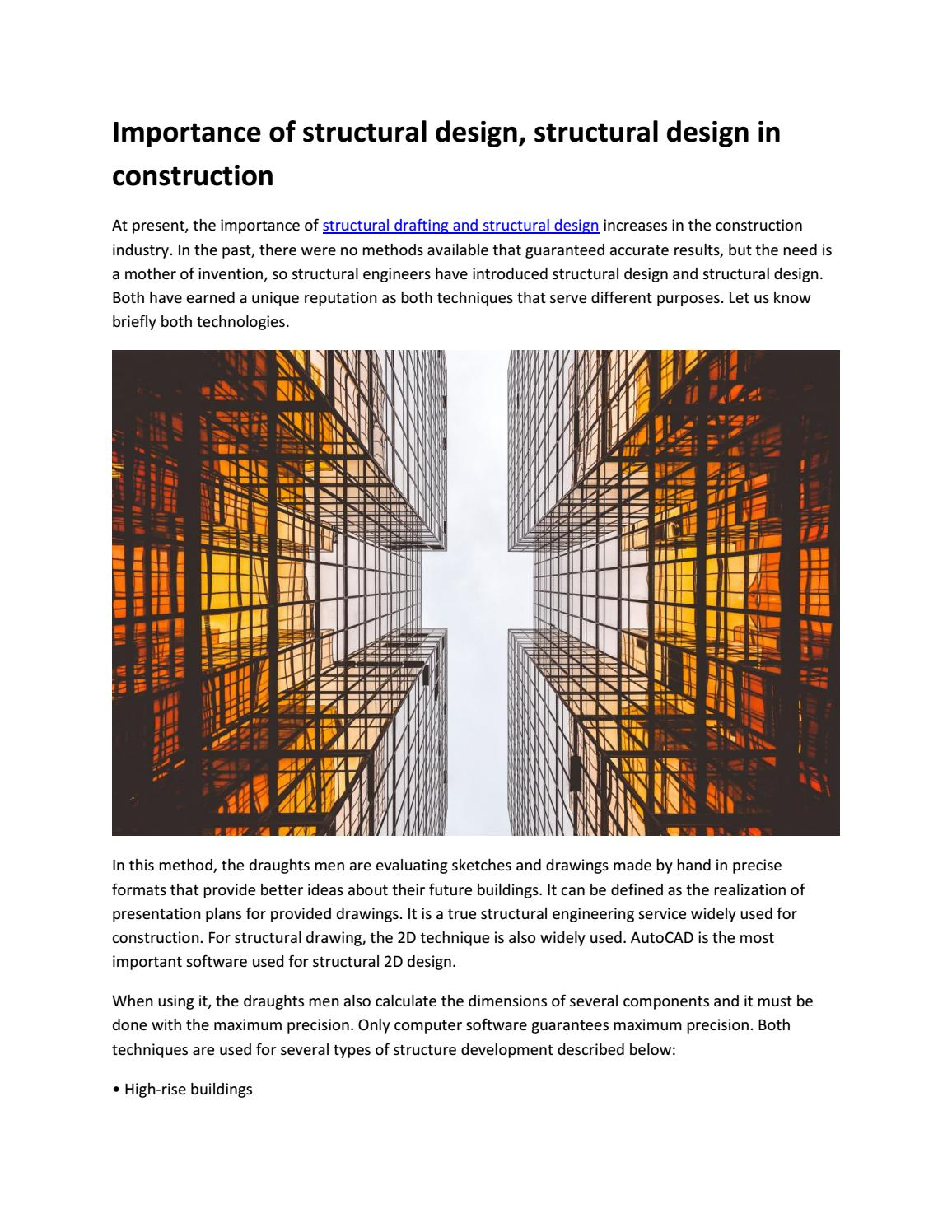Importance Of Structural Design Structural Design In Construction By Stepengineering1 Issuu