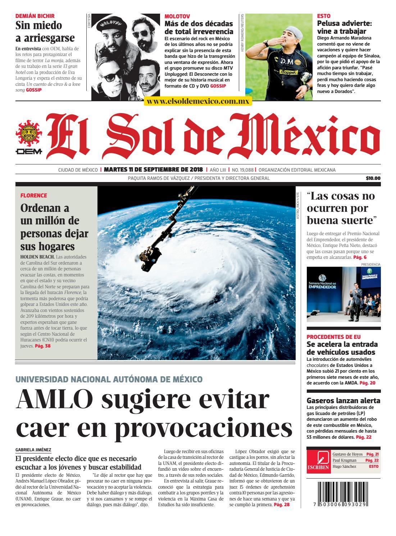 8707d9486e El Sol de México 11 de septiembre 2018 by El Sol de México - issuu