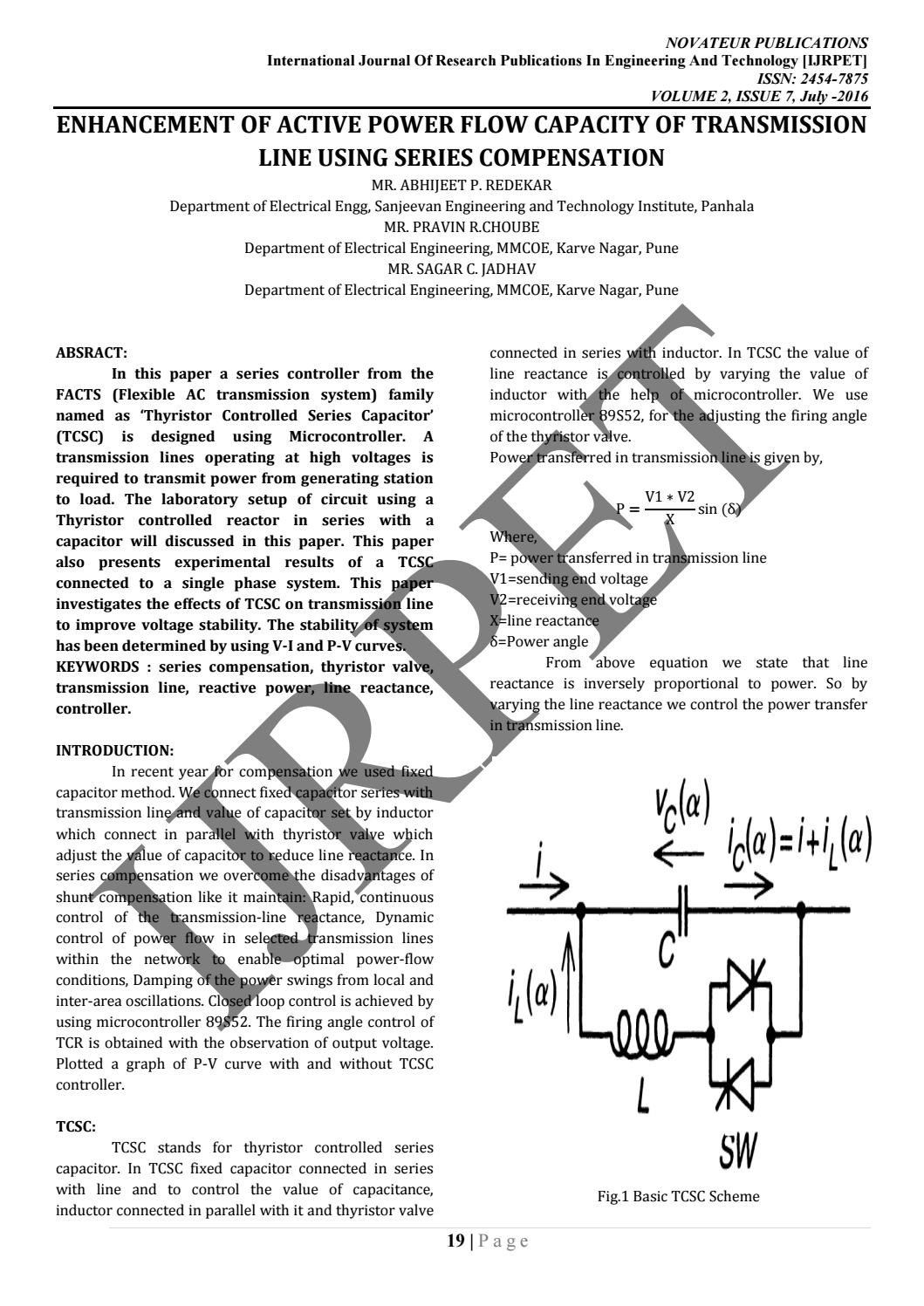 Journalnx Enhancement Of Active Power Flow Capacity Transmission Silicon Bilateral Switch Line Using Series Compensation By Issuu