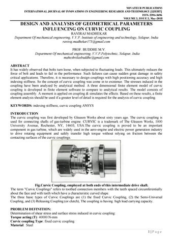 IJIERT-DESIGN AND ANALYSIS OF GEOMETRICAL PARAMETERS INFLUENCING ON