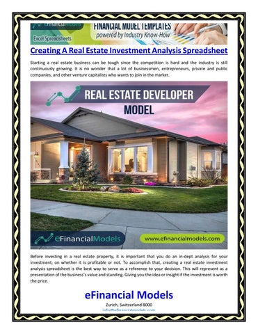 real estate investment analysis spreadsheet
