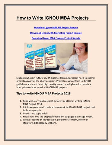 How to Write IGNOU MBA Projects by GPH Book - issuu