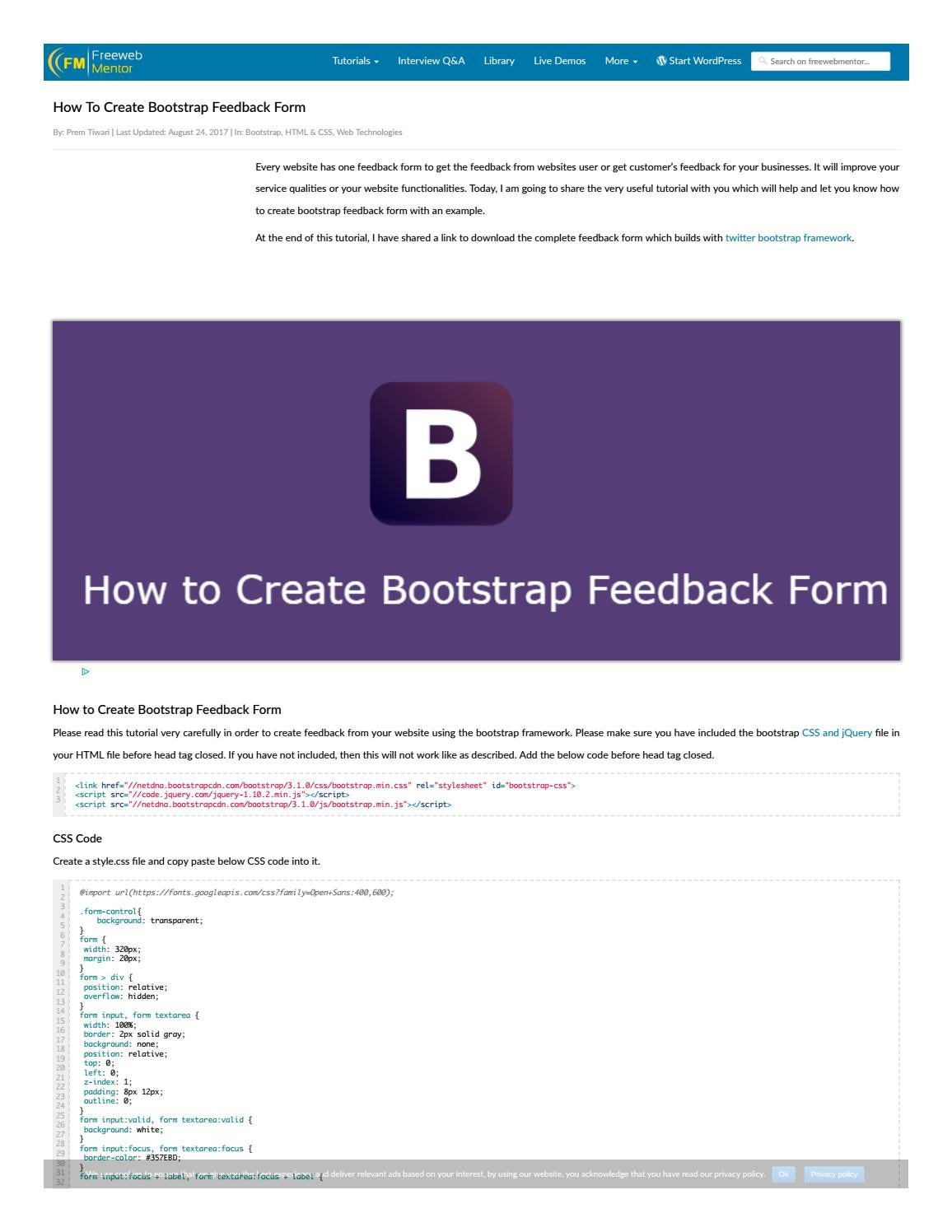 How To Create Bootstrap Feedback Form - Freewebmentor by
