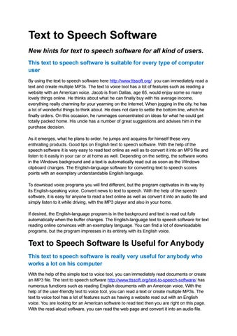 Text to Speech Software by botoxloxing - issuu