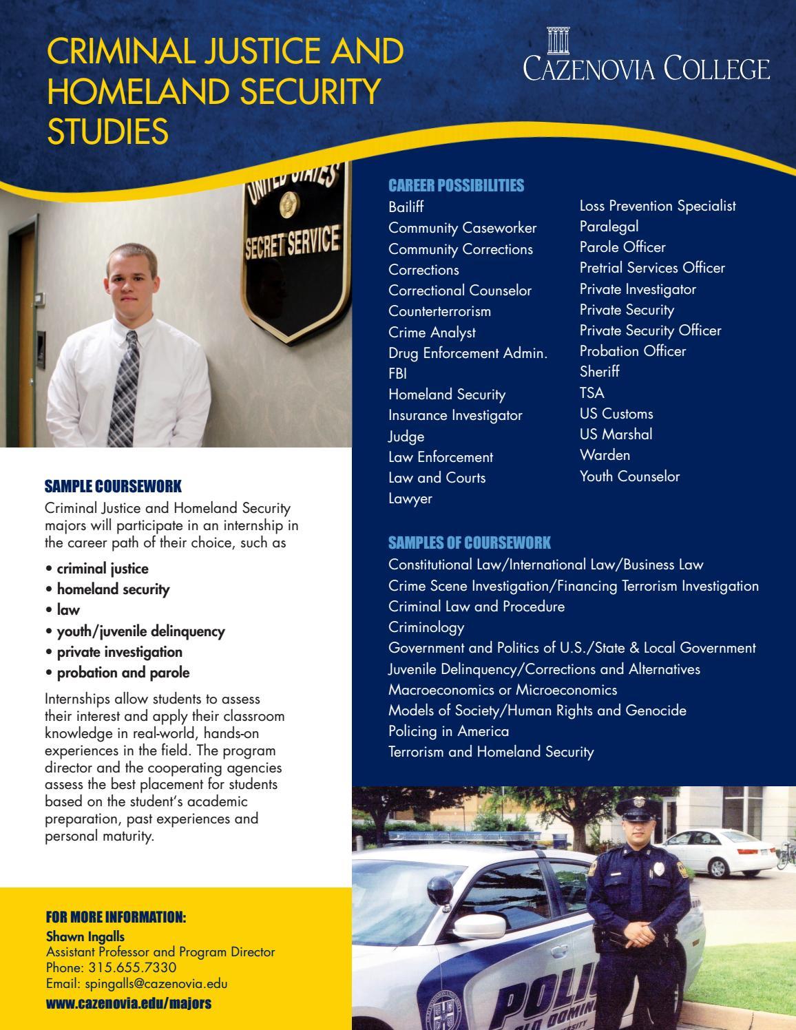 Criminal Justice And Homeland Security Studies Brochure