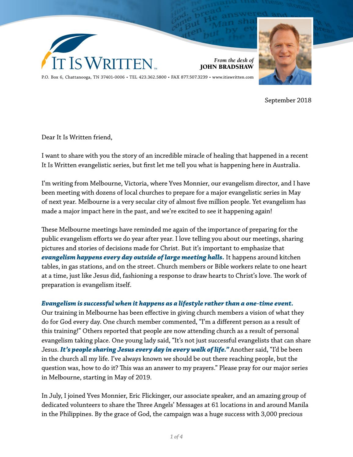 September 2018 Letter by It Is Written, Inc - issuu