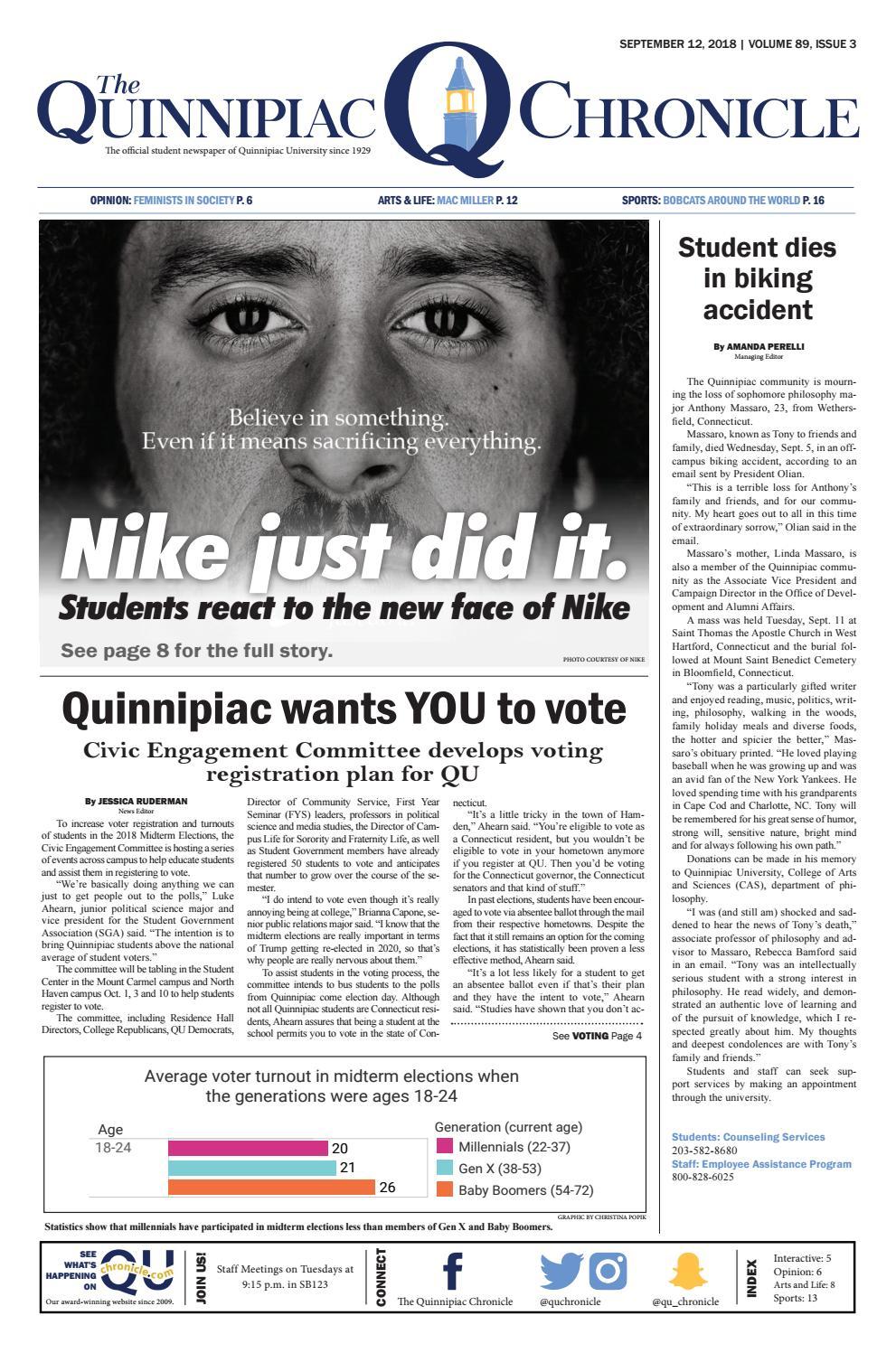 The Quinnipiac Chronicle, Volume 89, Issue 3 by The Quinnipiac