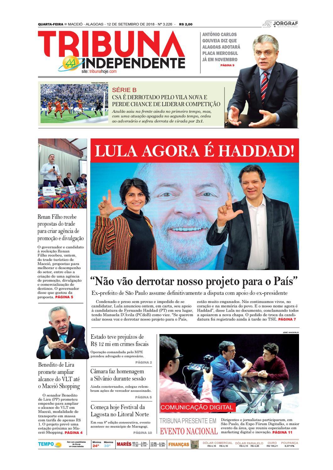 7fdb3912275 Edição número 3226 - 12 de setembro de 2018 by Tribuna Hoje - issuu