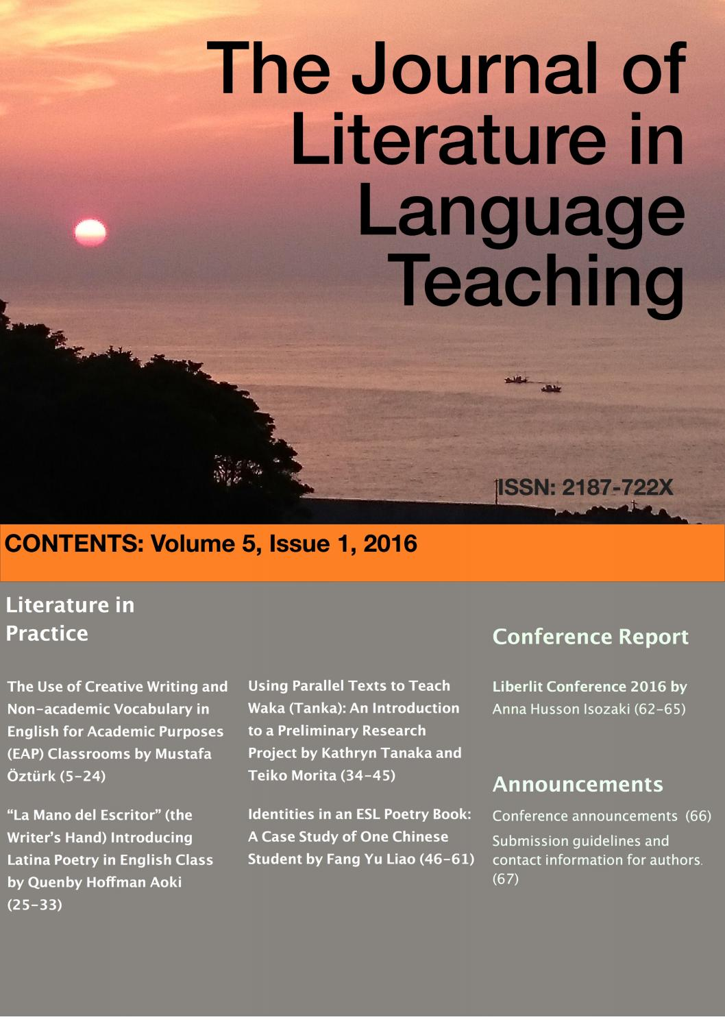 The Journal Of Literature In Language Teaching Volume 5