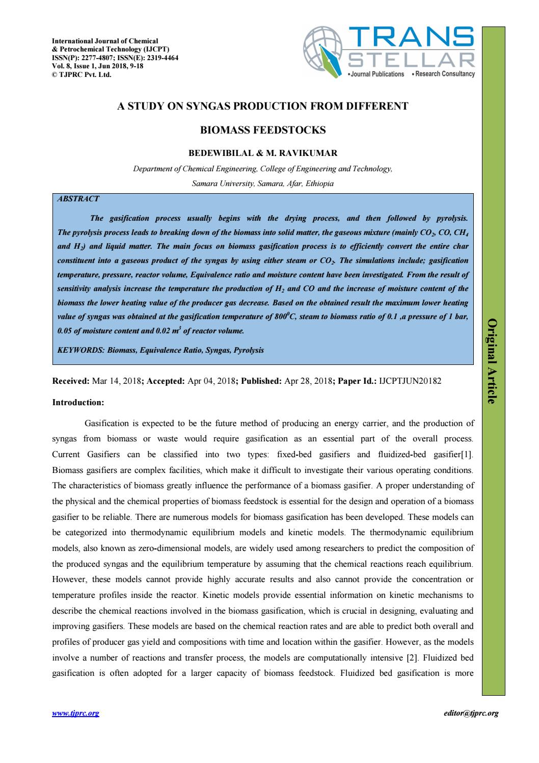 A Study on Syngas Production from Different Biomass Feedstocks by