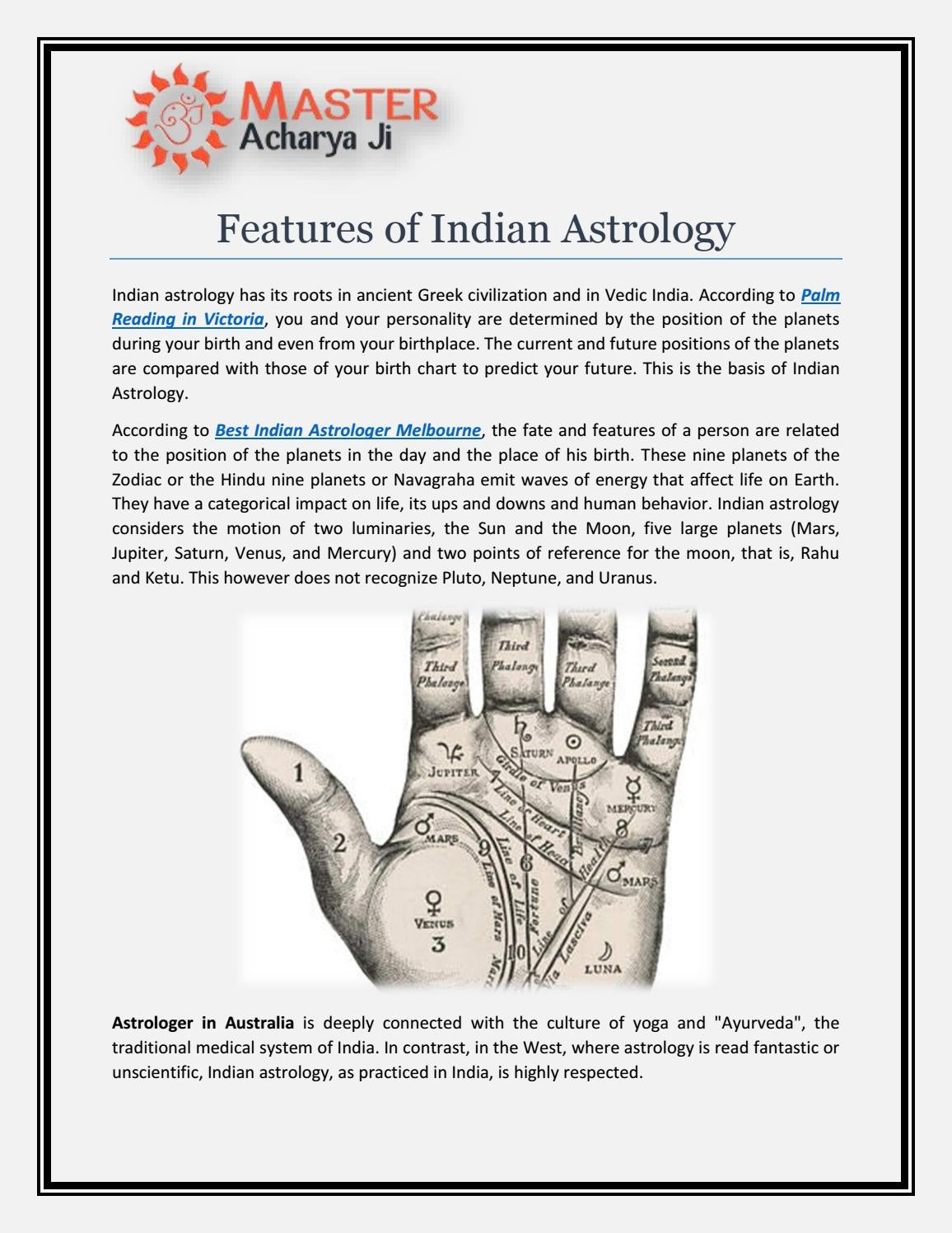 Features Of Indian Astrology By Master Acharya Ji Issuu