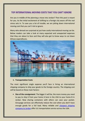 Cheapest shipping company to Jordan by Shiptojordan - issuu
